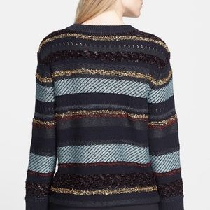 Tory Burch Danielle Metallic Stripe Back Sweater